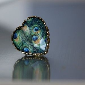 Peacock Feather Print Heart Shaped Ring Handmade🌸